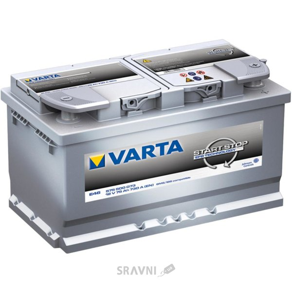 Фото Varta 6СТ-75 Start-Stop (E46) (575500073)