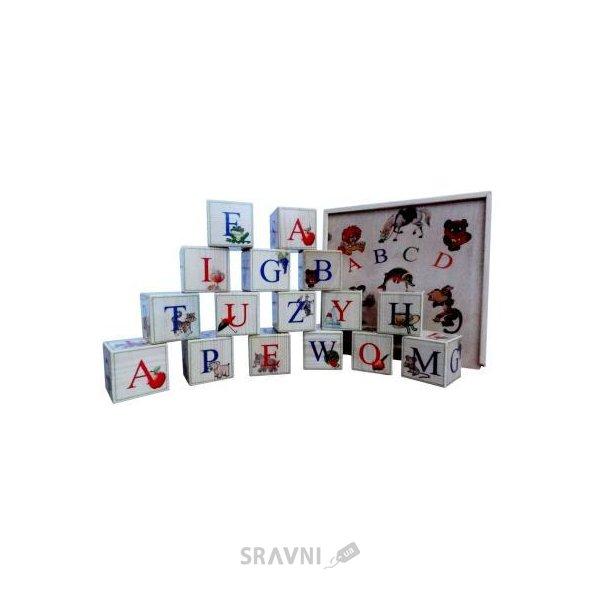 Фото Брынских и К Деревянные кубики с английским алфавитом 16 шт. (Анг16)