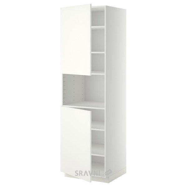 Фото IKEA METOD Пенал для СВЧ, 2 дверки/полки, белый 60x60x200 (890.277.89)
