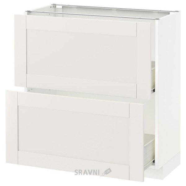 Фото IKEA METOD/FORVARA Напольный шкаф с 2 ящиками, белый 80x37 (190.636.91)