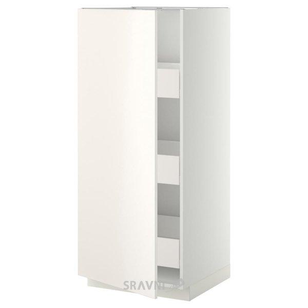 Фото IKEA METOD/FORVARA Пенал с ящиками, белый 60x60x140 (599.207.42)