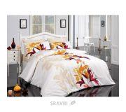Фото Majoli Tuval v1 Sari Ранфорс двуспальный Евро белый с желтым (010078142)