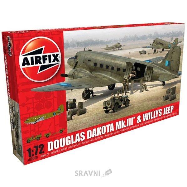 Фото Airfix Военно-транспортный самолет Douglas Dakota MkIII с автомобилем Willys (AIR09008)