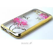 Фото Younicou Diamonds Chrome Samsung Galaxy J7 SM-J700H Pink Flowers