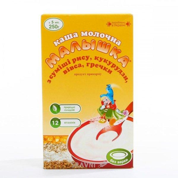 Фото Малыш Каша молочная Малышка из риса, кукурузы, овса, гречки, 250 г