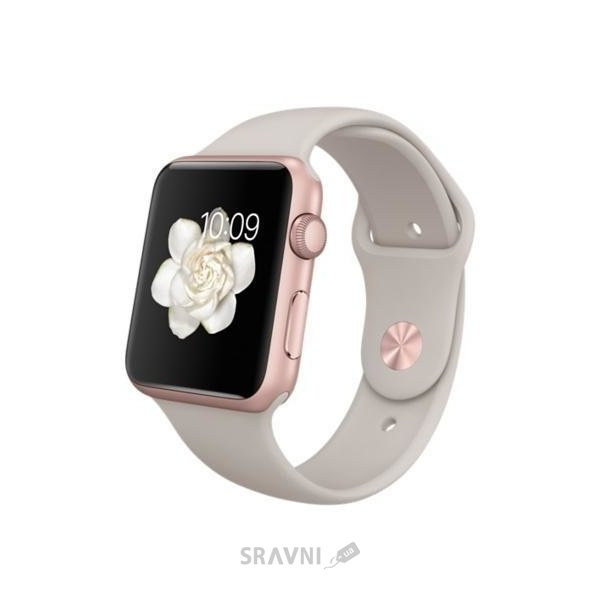 Фото Apple Watch 42mm Rose Gold Aluminum Case with Stone Sport Band (MLC62)