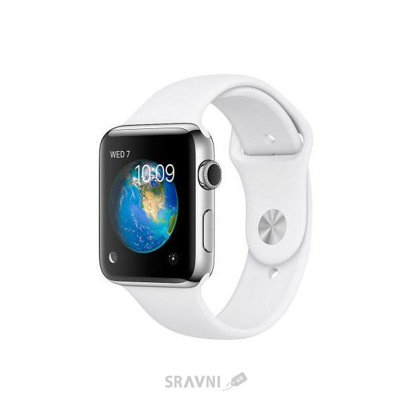Фото Apple Watch Series 2 42mm Stainless Steel Case with White Sport Band (MNPR2)