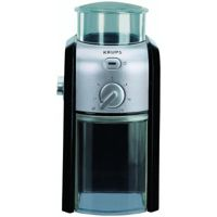 Цены на Кофемолка Krups GVX 242 (Крупс) Мощность: 100 Вт / Вместимость: 200 г / 17 степеней помола / Таймер / Материал корпуса: пластик / Цвет: черный+серый, фото